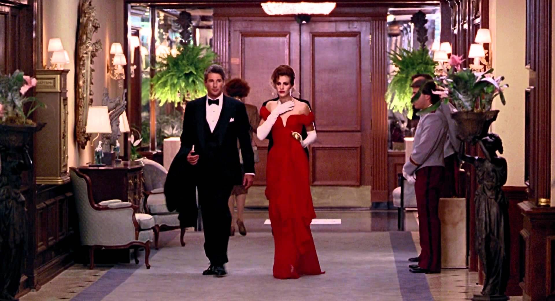 vestidos de películas de Hollywood Julia Roberts en Mujerbonita vestido rojo